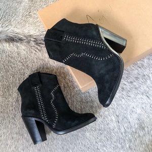 NEW Joie Monte suede studded black ankle boots
